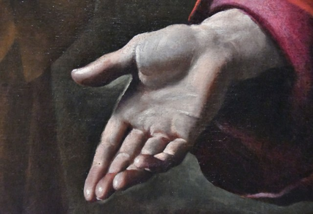 Hand, painting detail, art in Turin, Italy