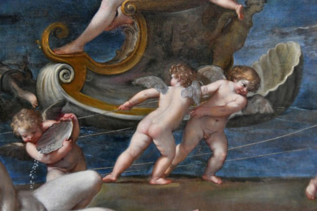 Painting detail of angels, art in Turin, Italy