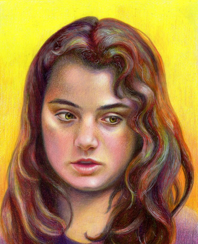 portrait drawing in colored pencil