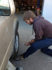 If you have to replace a tire, it's good to have a nice-looking, sweet young man do it for you.