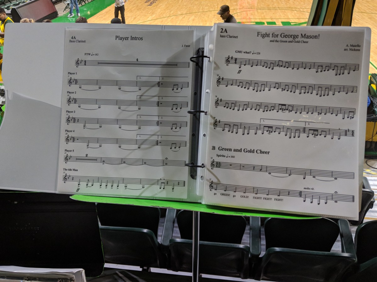 A binder with sheet music resting on a stand