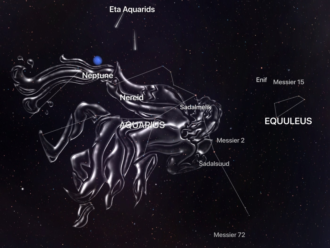 A screenshot from The Night Sky app that features the Aquarius constellation