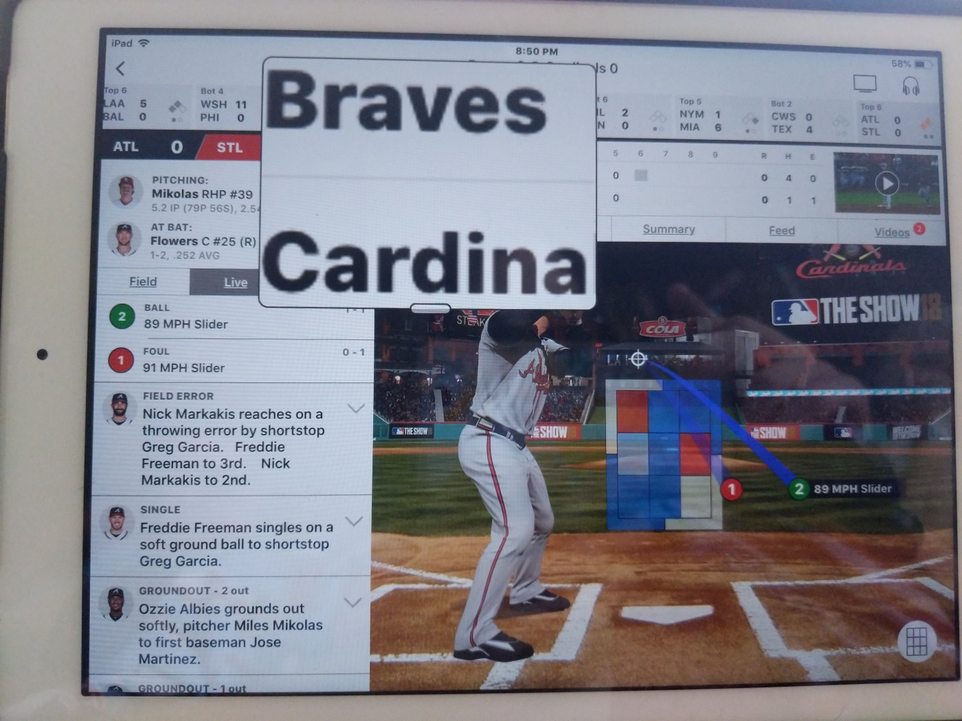 Screenshot of MLB At Bat app with small Zoom magnifier
