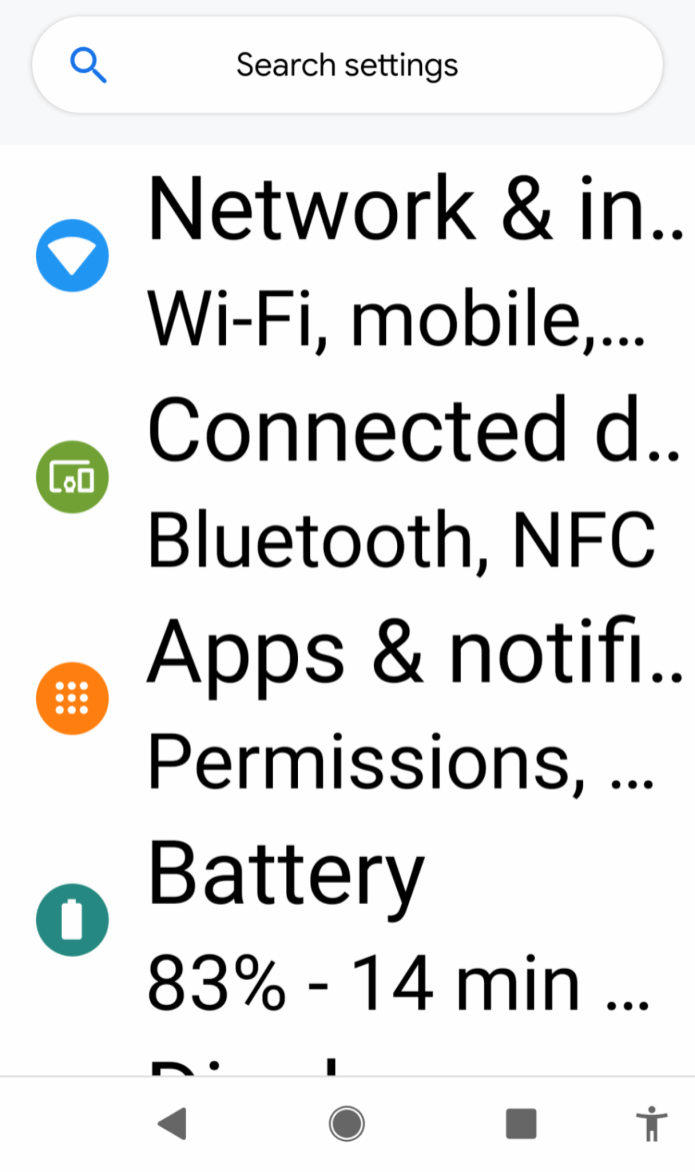 Image description- search bar at the top of settings menu