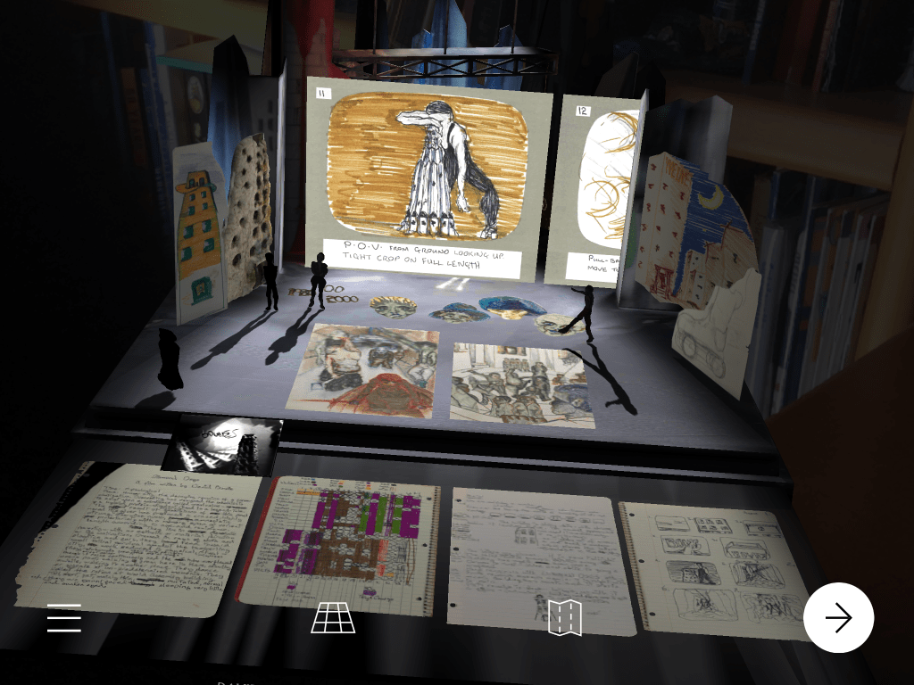 Screenshot of Hunger City exhibit with artifacts on display