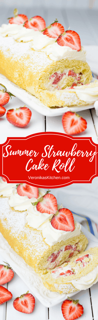 Summer Strawberry Cake Roll