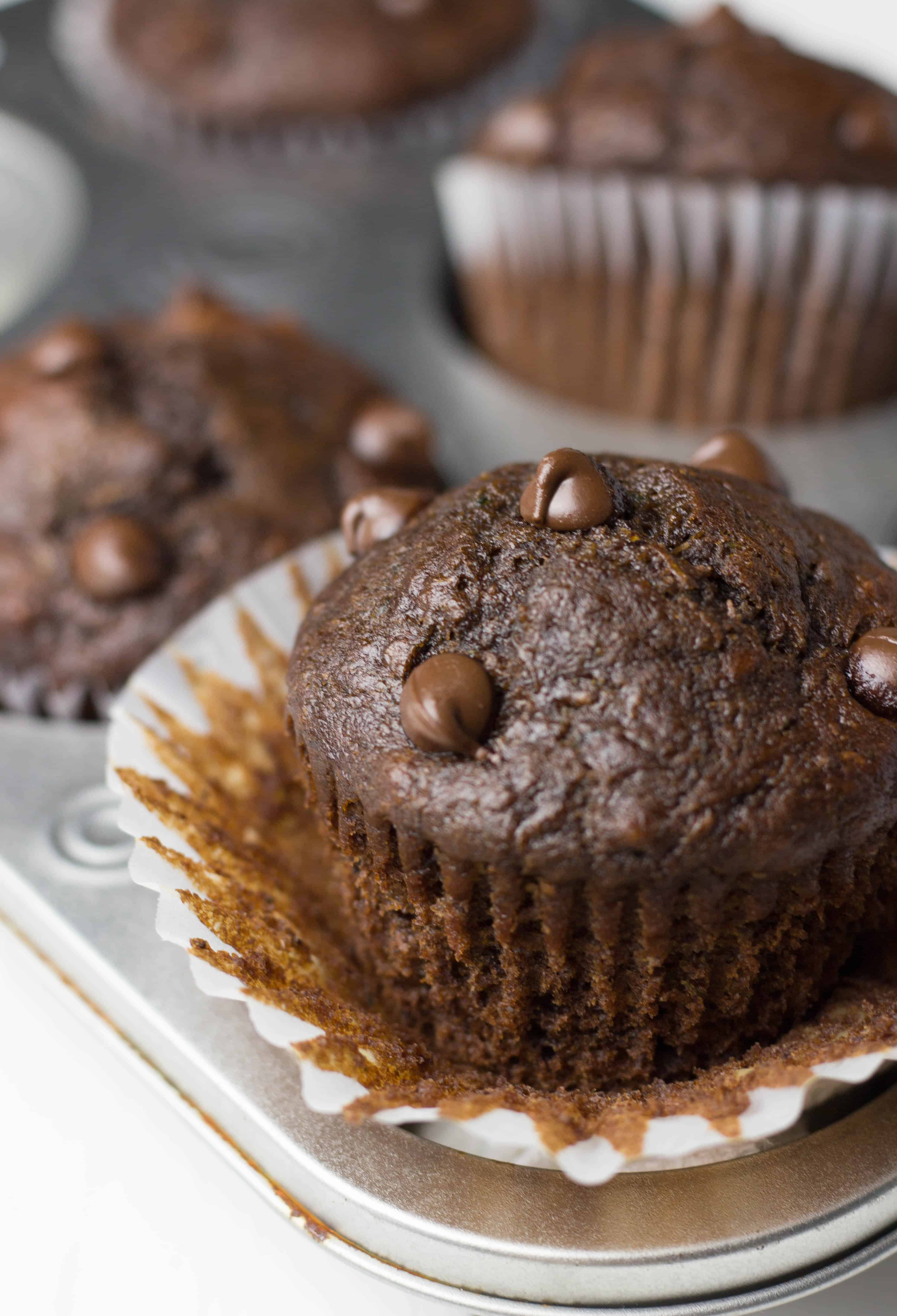 Healthy Chocolate Zucchini Muffins recipe is an easy healthy dessert that is packed with nutrients.