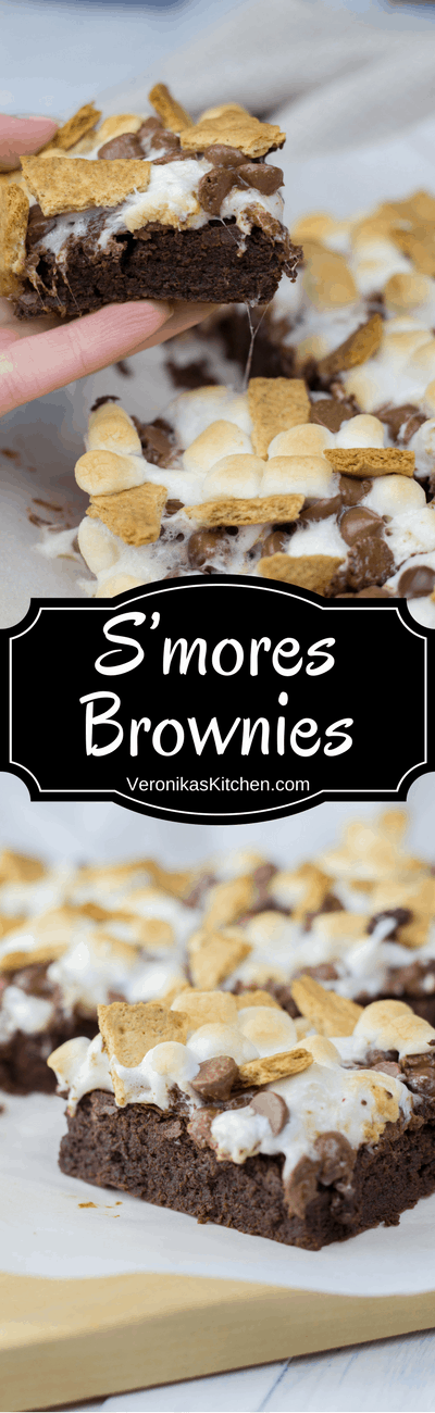 These rich, fudgy, and chewy S'mores Brownies are loaded with marshmallow, chocolate chips, and graham crackers. It is an easy chocolate dessert that is perfect for the holiday season.