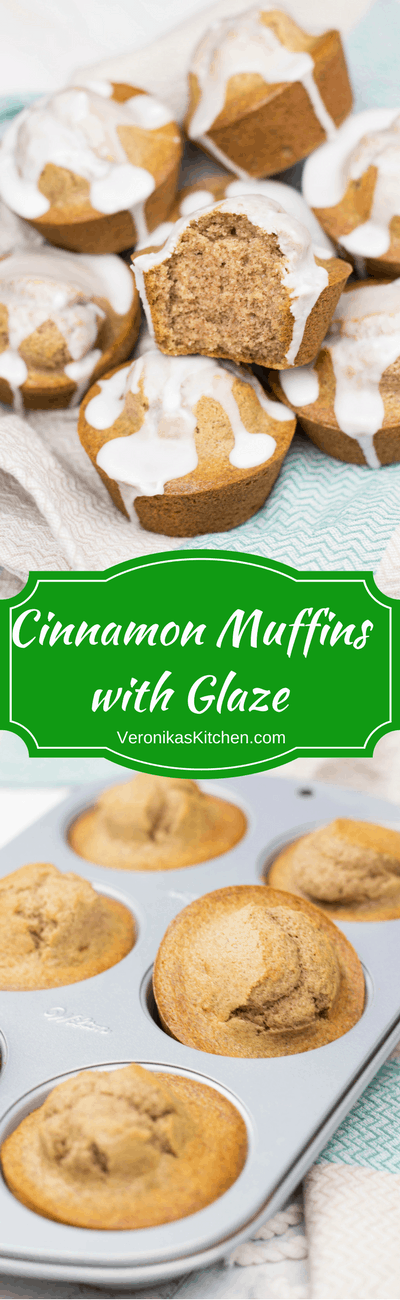 These easy made from scratch Cinnamon Muffins with Glaze will be a great breakfast idea, to-go snack, or a perfect holiday dessert.