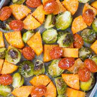 Roasted Brussel Sprouts, Sweet Potato, and Cherry Tomatoes