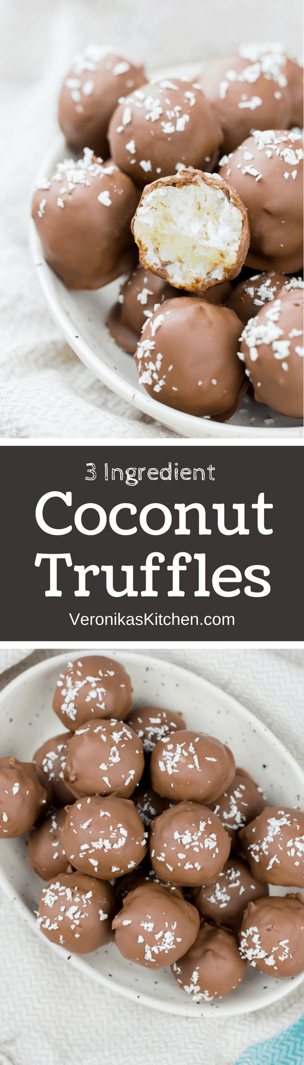 3 Ingredient Coconut Truffles are scrumptious and easy to make chocolate covered coconut candies. This is a great bite-size no-bake dessert recipe idea which will surprise your guests!