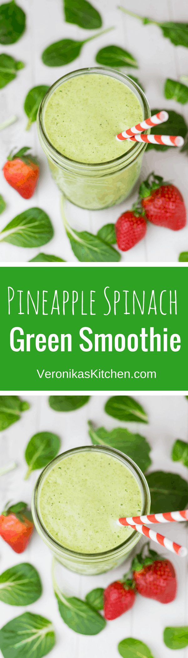 Pineapple Spinach Green Smoothie recipe with Chia seeds is a great healthy idea for breakfast, lunch, or a workout.