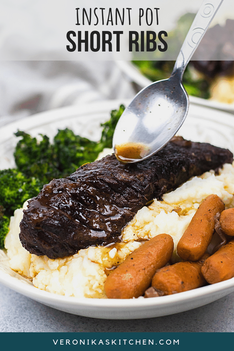 Instant Pot Short Ribs is the best and super easy recipe for juicy and tender boneless short ribs braised in red wine and cooked in your favorite pressure cooker!