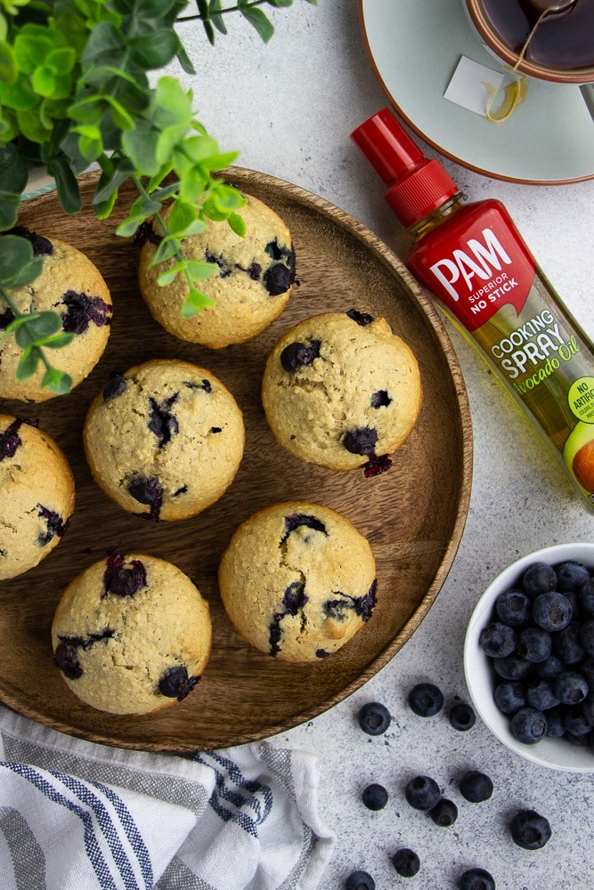 """Healthy Oatmeal Blueberry Muffins are the best nutritious treat for breakfast, dessert, or just a snack. Made with no refined sugar, these """"grab and go"""" muffins easy to make and super delicious!"""