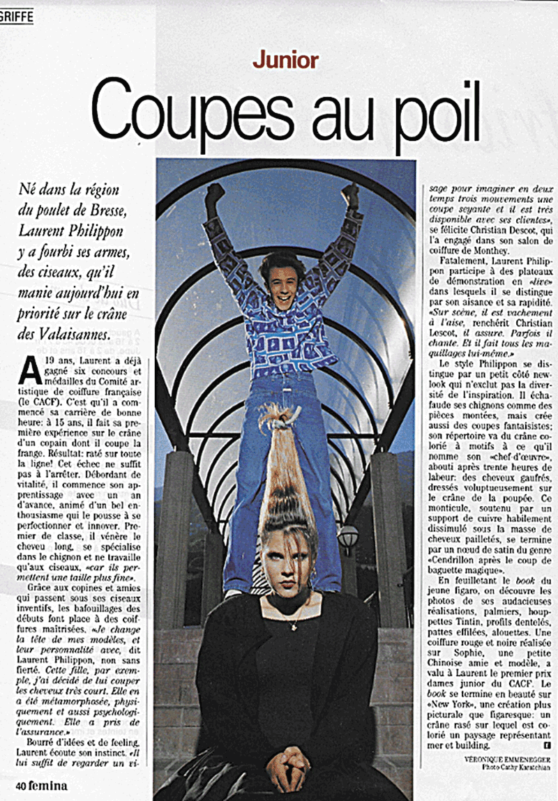 Article sur le coiffeur Laurent Philippon