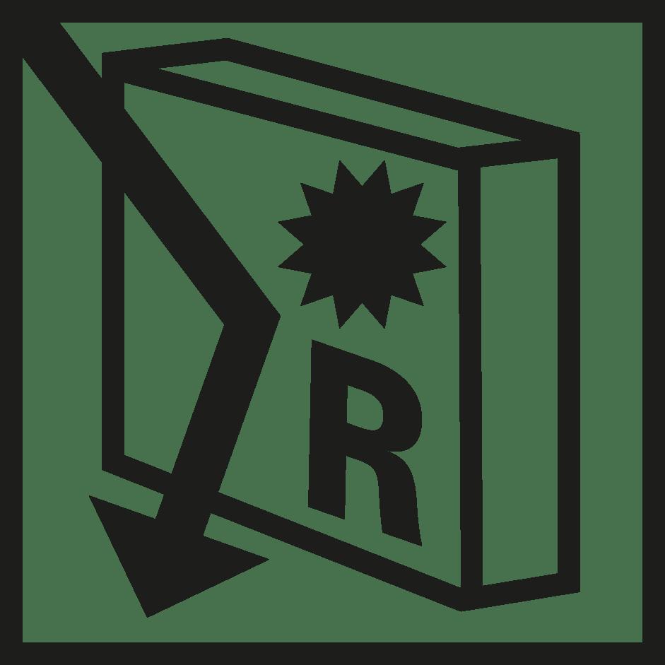 símbolo reflexión solar verosol negro