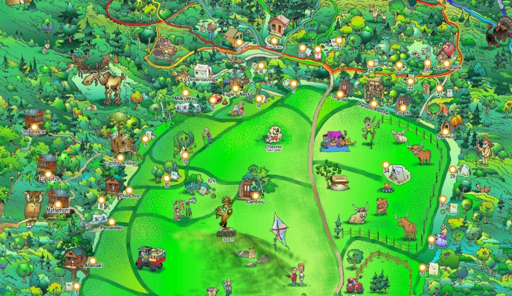 Capture d'écran de la carte des hébergements du Diable Vert à partir des cartes interactives de ONDAGO