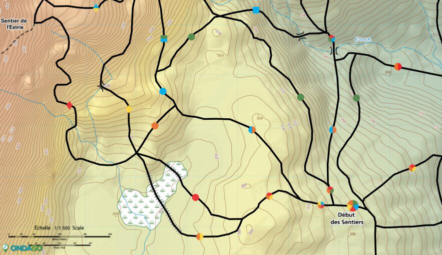 Capture d'écran de la map des sentiers du Diable Vert à partir des cartes interactives de ONDAGO