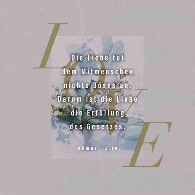 Die Liebe tut dem Mitmenschen nichts Böses an. Darum ist die Liebe die Erfüllung des Gesetzes.