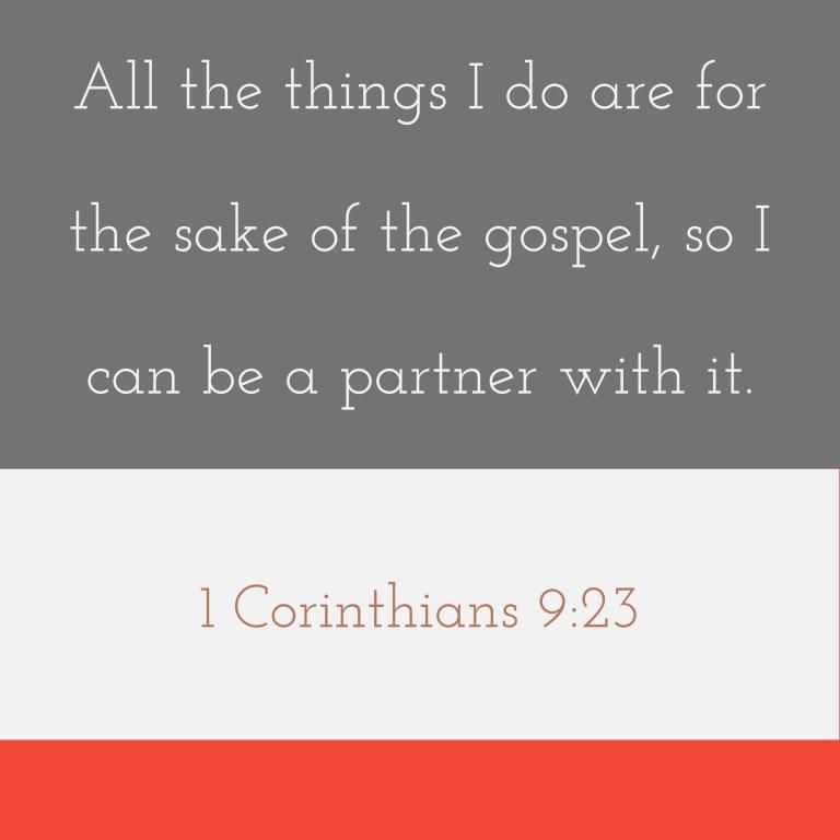 Verse Image for 1 Corinthians 9:23 - 1x1