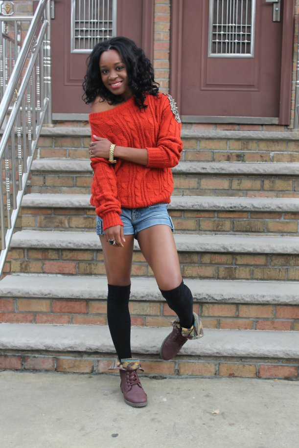 denim shorts knit sweater and combat boots