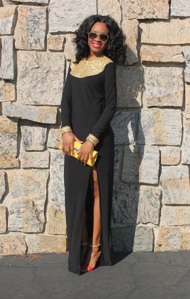 embellished kaftan with slit rihanna inspired