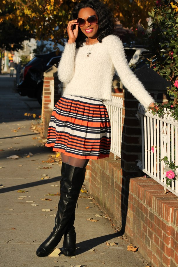 Striped skirt + over the knee boots + fluffy sweater (1)