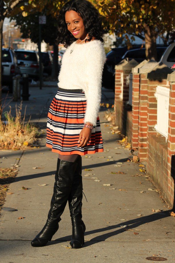 Striped skirt + over the knee boots + fluffy sweater (9)