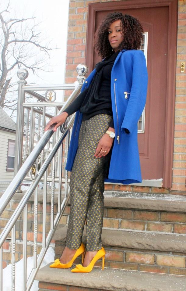 Jacquard pants +satin bow pumps   (3)