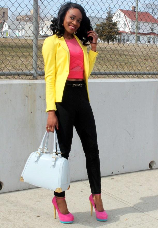 Black trousers + pink croptop + yellow blazer (1)