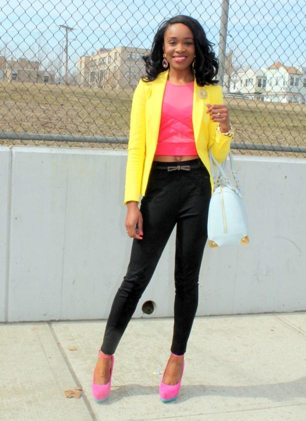 Black trousers + pink croptop + yellow blazer (12)