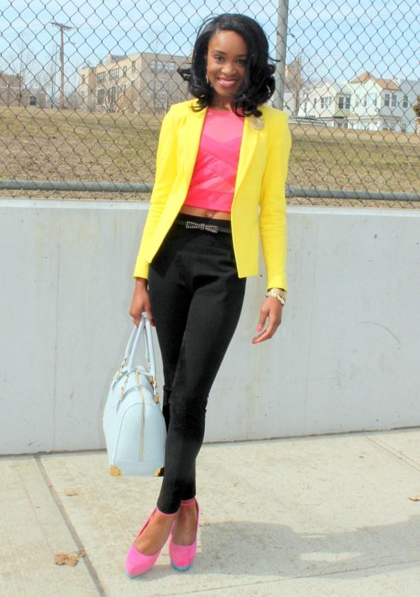 Black trousers + pink croptop + yellow blazer (13)