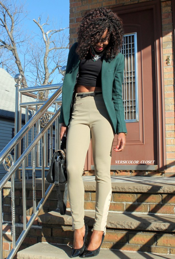 High waist pants + crop top + h&m blazer (3)