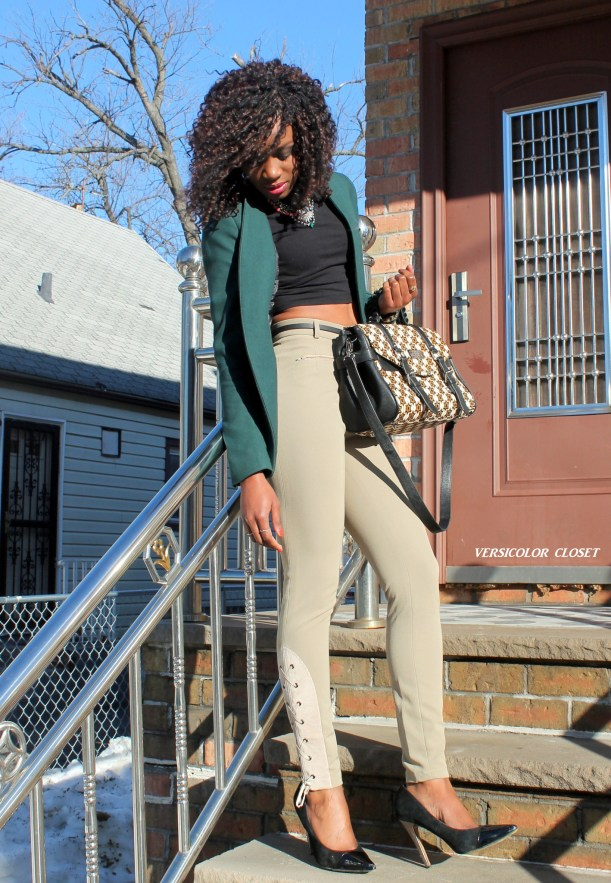 High waist pants + crop top + h&m blazer (6)