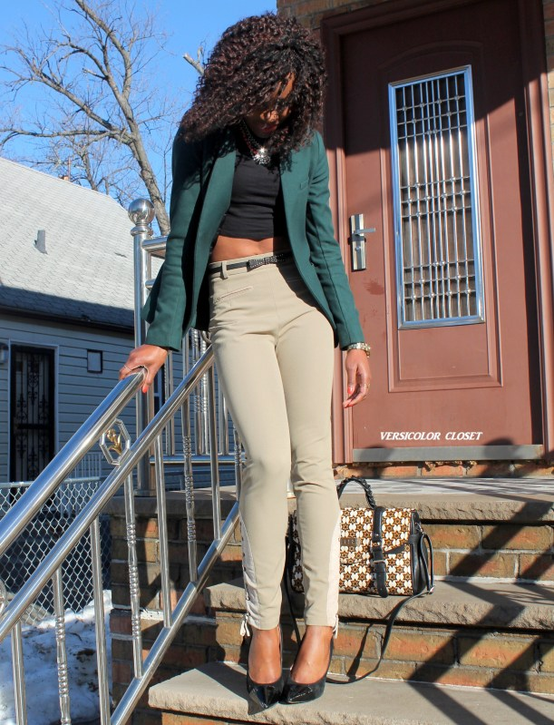 High waist pants + crop top + h&m blazer (8)