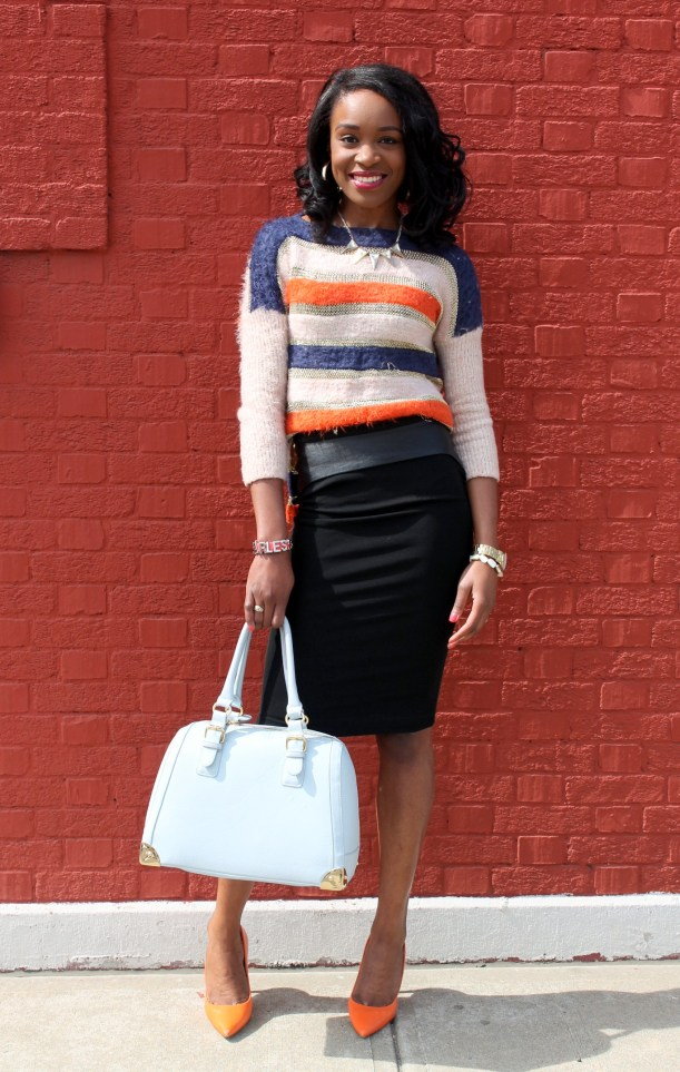Striped sweater + Pencil skirt with faux leather details (1)