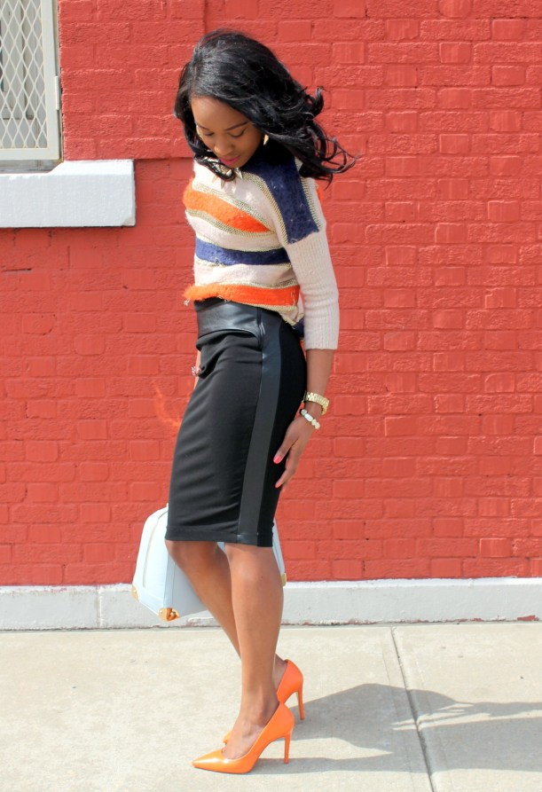 Striped sweater + Pencil skirt with faux leather details (11)
