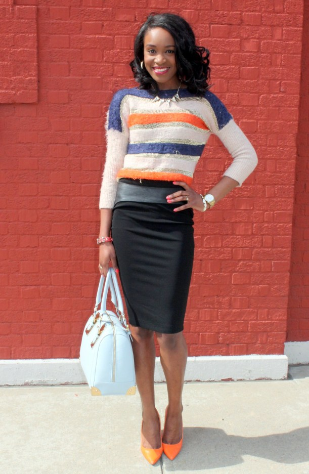 Striped sweater + Pencil skirt with faux leather details (7)