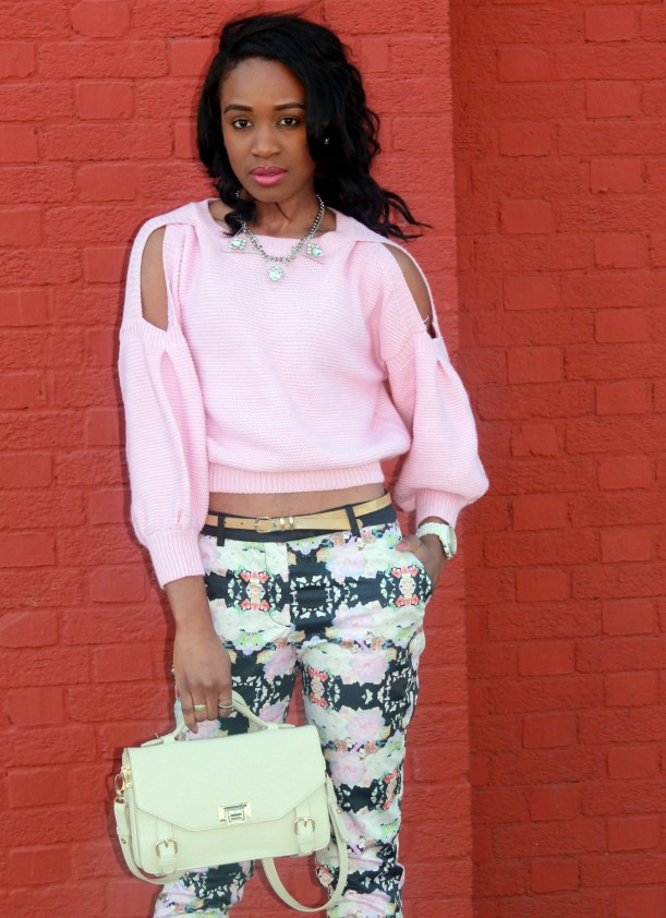 Floral trousers + cut out sweater (2)