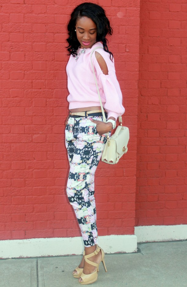 Floral trousers + cut out sweater (7)