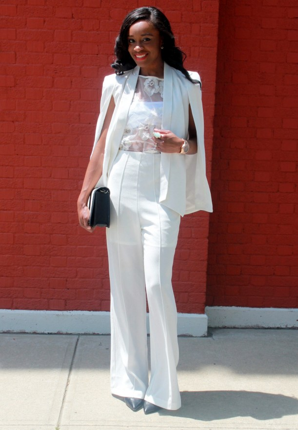 All white wide leg pants + cape blazer (1)