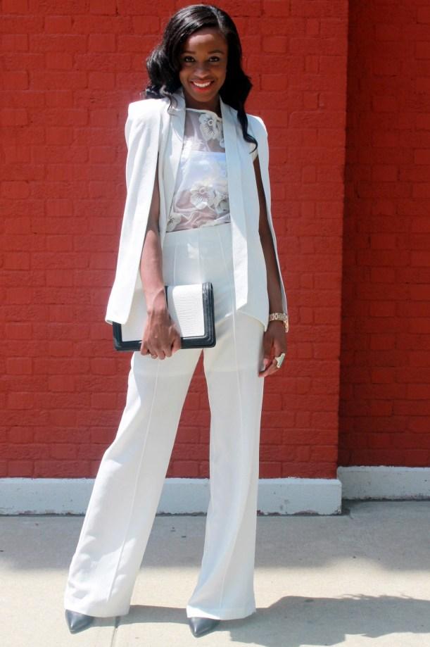 All white wide leg pants + cape blazer (13)