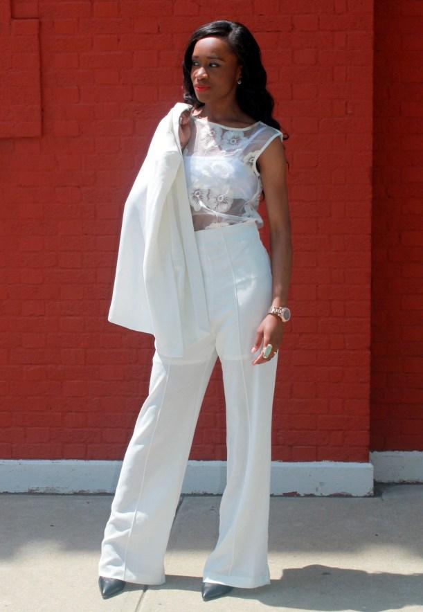 All white wide leg pants + cape blazer (2)