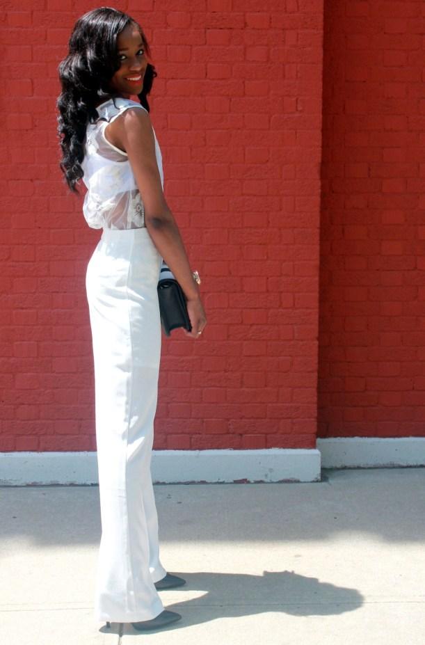 All white wide leg pants + cape blazer (4)