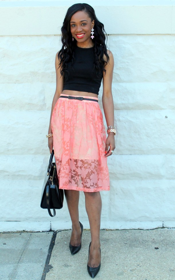 Black crop top + pastel midi skirt (10)