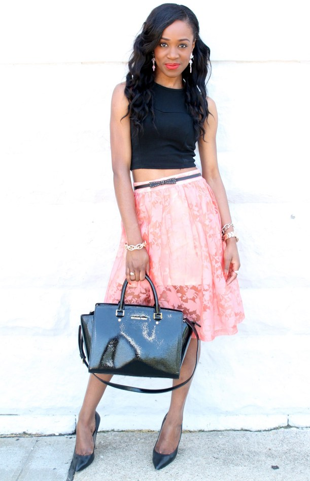 Black crop top + pastel midi skirt (2)