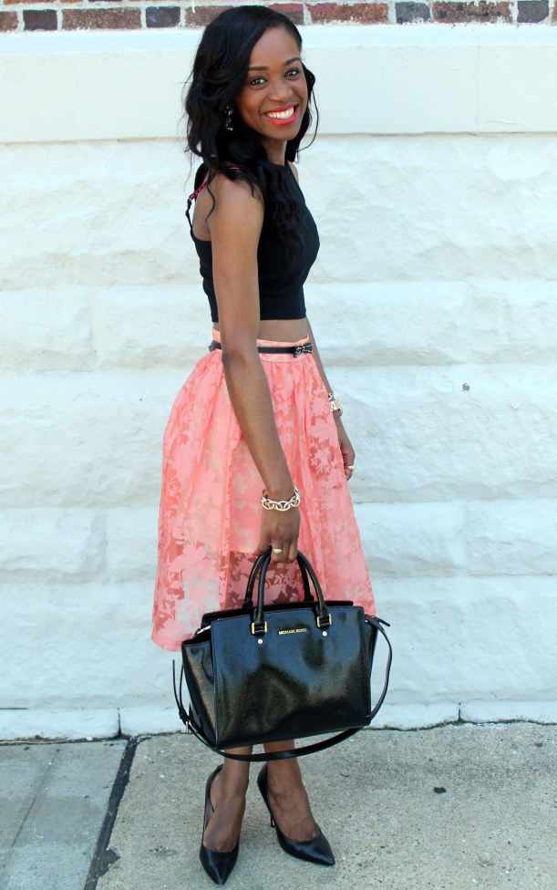 Black crop top + pastel midi skirt (4)
