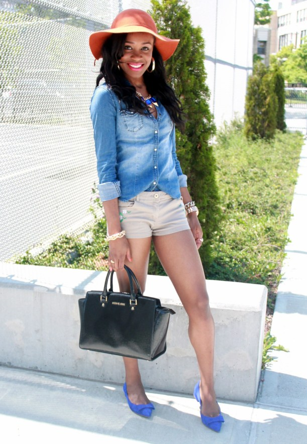 Chambray top + bow suede flats (9)