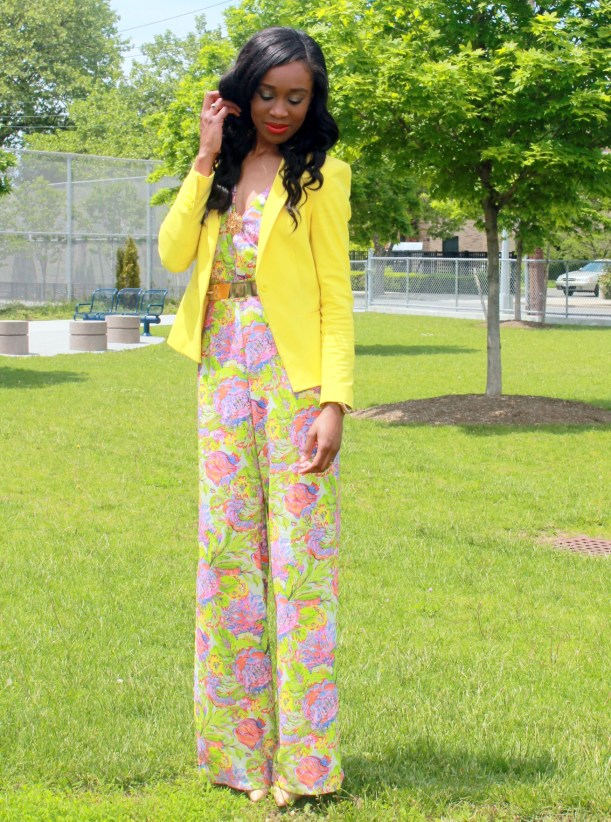 Floral jumpsuit + fitted blazer (1)