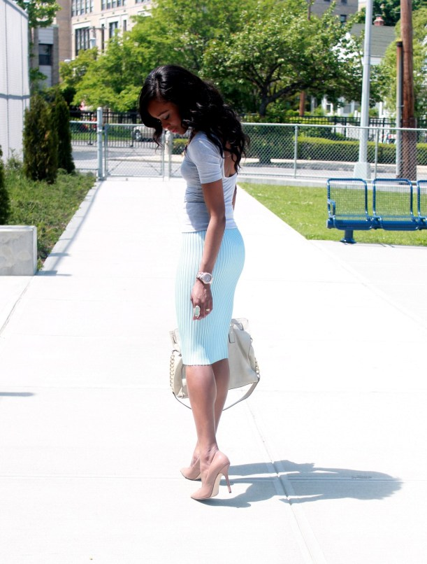 Pastel blue pleated skirt + gray open back top  (1)